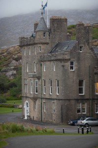 The public road winds round Amhuinnsuidhe Castle